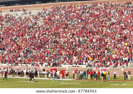 TALLAHASSEE, FL - OCT. 22: Fans at Doak Campbell Stadium, home for Florida State college football team on Oct. 22, 2011. The stadium seats 82,300, making it the NCAA's fourteenth largest stadium. - stock photo