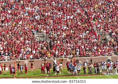 TALLAHASSEE, FL - OCT. 16:  Sold out crowd at Doak Campbell Stadium, home for Florida State football team on Oct. 16, 2010. The stadium seats 82,300, making it the NCAA's fourteenth largest stadium. - stock photo