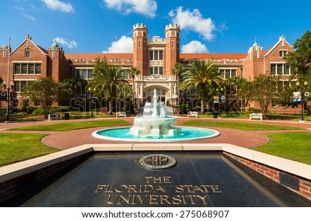 Tallahassee, FL USA - October 10, 2010: The beautiful red brick administration building at the entrance of the Florida State University. - stock photo
