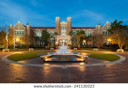 TALLAHASSEE, FLORIDA - DECEMBER 7: Dawn at Westcott Plaza on the campus of Florida State University on December 7, 2014 in Tallahassee, Florida  - stock photo