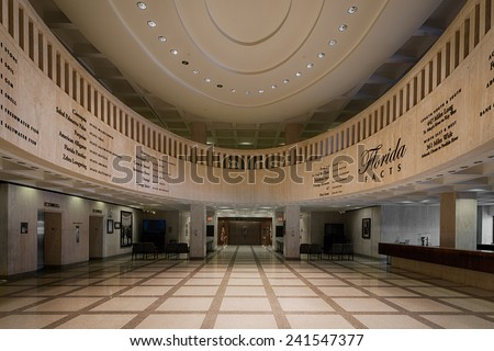 TALLAHASSEE, FLORIDA - DECEMBER 5: Lobby in front of the House of Representatives chamber at the Florida State Capitol building on December 5, 2014 in Tallahassee, Florida - stock photo