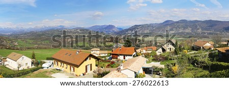 TALLARD, FRANCE - APRIL 12 2015: View from Fouillouse across the Durance valley. Fouillouse is one of the 15 hanging villages which surround Tallard, Haute Alpes, France - stock photo