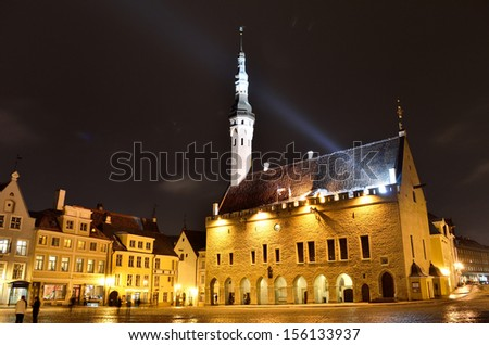 Tallinn central Town Hall Square by night (Raekoja plats) - stock photo