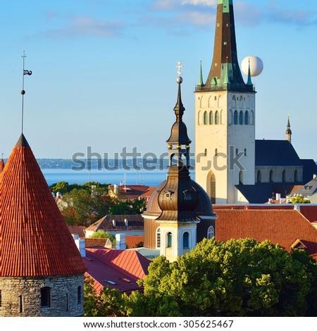 Tallinn city. Estonia. Summer panorama view - stock photo