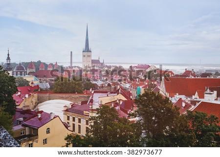 Tallinn cityscape, Estonia, beautiful old architecture - stock photo