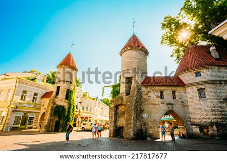 TALLINN, ESTONIA - JULY 26: Famous Viru Gate - Part Old Town Architecture Estonian Capital On July 26, 2014 In Tallinn. Viru Gates were built in the 14thC, still standing today. - stock photo