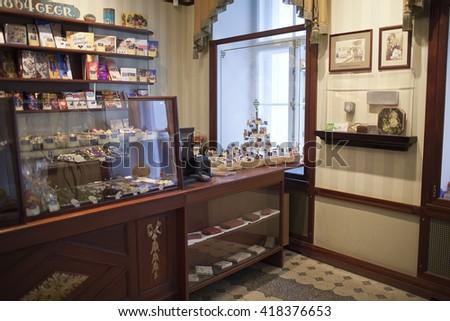 TALLINN, ESTONIA- JUNE 17: Shop at the museum of marzipans on June 17, 2012 in Tallinn, Estonia - stock photo