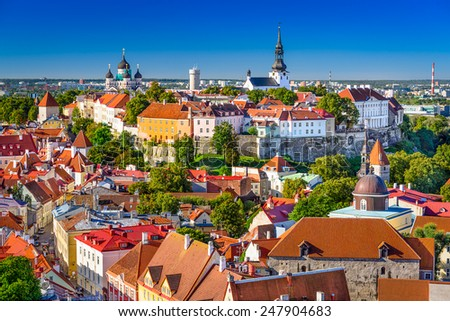 Tallinn, Estonia, old town skyline of Toompea Hill. - stock photo