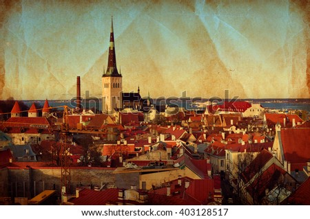 Tallinn, Estonia. Red roofs of Tallinn old town, vintage style panoramic landscape - stock photo