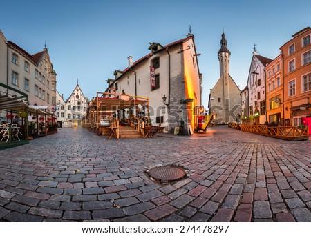 Tallinn Town Hall and Olde Hansa Restaurant in the Morning, Tallinn, Estonia - stock photo