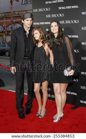 """Tallulah Belle Willis, Ashton Kutcher and Demi Moore attend Los Angeles Premiere of """"Mr. Brooks"""" held at the Grauman's Chinese Theater in Hollywood, California, on May 22, 2007. - stock photo"""
