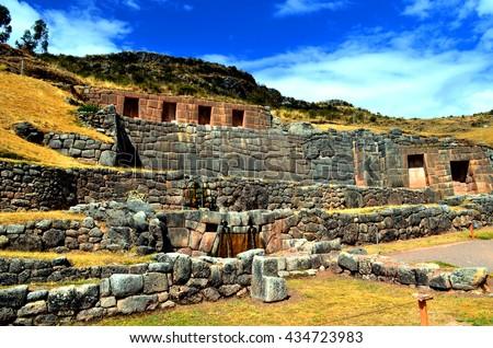 Tambomachay, Inca ruins at Cuzco, Peru - stock photo