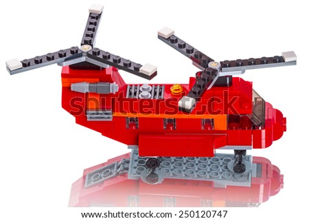 Tambov, Russia - August 30, 2014:  Model two rotor helicopter Lego. Lego is a line of construction toys manufactured by the Lego Group, a privately held company based in Billund, Denmark Items: 31003 - stock photo