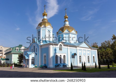TAMBOV, RUSSIA - SEPTEMBER 13, 2014: Tambov city. Church of Our Lady of Joy of All Who Sorrow in Ascension Monastery - stock photo
