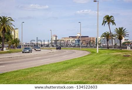 Tampa Bay, Florida skyline from Bayshore Boulevard - stock photo