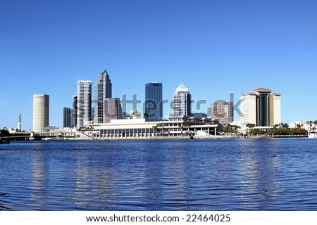 Tampa Skyline Over Hillsborough River - stock photo