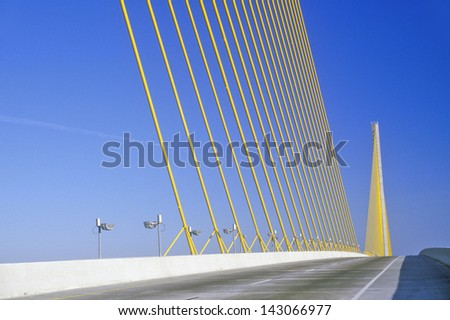 Tampa Sunshine Skyway Bridge at Tampa Bay, Florida - stock photo