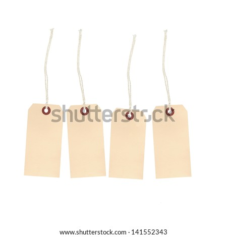 Tan price tags on string with space to add desired text - stock photo