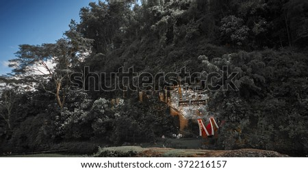 Tana Toraja's traditional cemetery in a rocky wall in a forest. Sulawesi island, Indonesia - stock photo