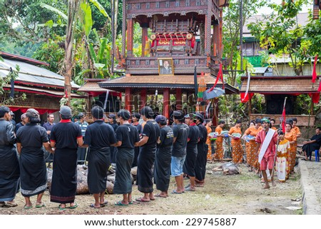 Tana Toraja, South Sulawesi, Indonesia - September 4, 2014: traditional dressed men dancing in circle around slaughtered pigs and buffalos for funeral cerimony. - stock photo
