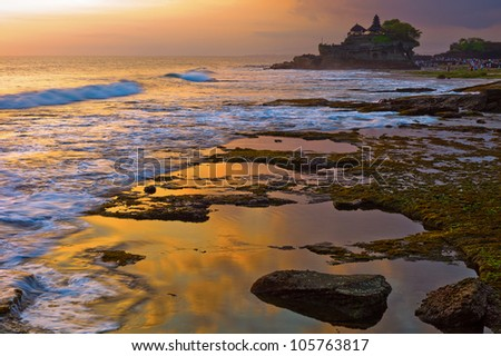 Tanah Lot temple in Bali, Indonesia - stock photo