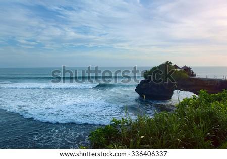 Tanah Lot Temple on Bali - stock photo