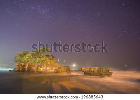 Tanah Lot Temple on Sea in night   Bali Island Indonesia - stock photo