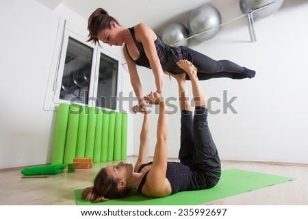 Tandem yoga - stock photo