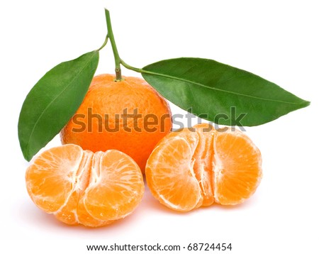 Tangerine isolated on white background, tasty and healthy fruit - stock photo