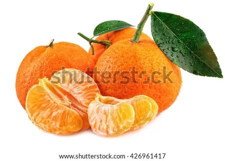 Tangerine mandarin and peeled fruits on white background. - stock photo