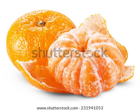 tangerine or mandarin fruit isolated on white background cutout. Clipping Path - stock photo