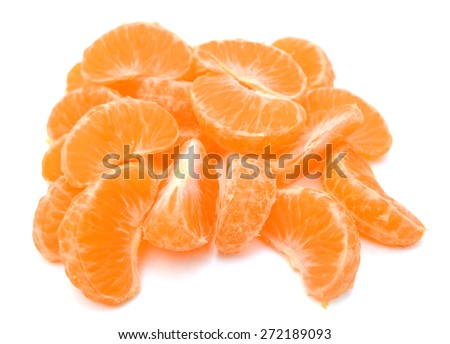 tangerine segments on white background  - stock photo