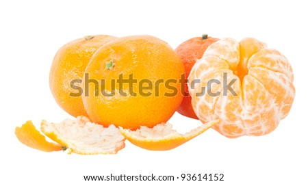 tangerines with segments isolated on white background - stock photo