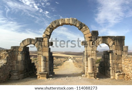 Tangier Gate at Volubilis - stock photo