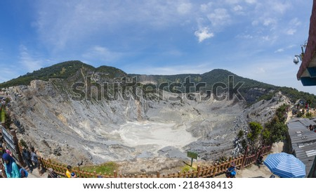 TANGKUBAN PERAHU, BANDUNG, WEST JAVA, INDONESIA - SEPTEMBER 15, 2014: Wide angle view of dormant volcanic crater Tangkuban Perahu in Bandung, Indonesia. - stock photo