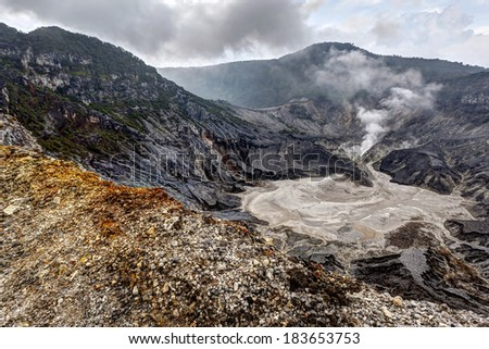 Tangkuban Perahu, the volcanic crater in Bandung, Indonesia - stock photo
