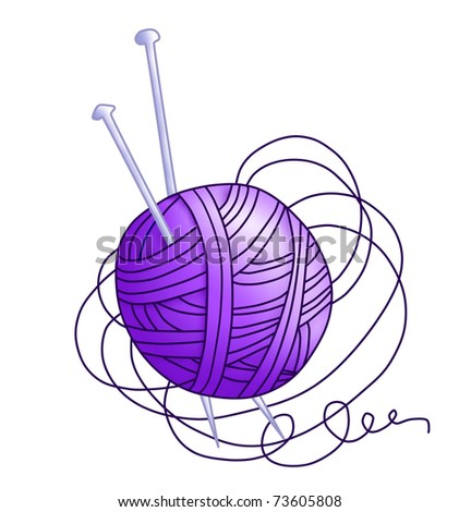 Tangle with purple thread(color) - stock photo