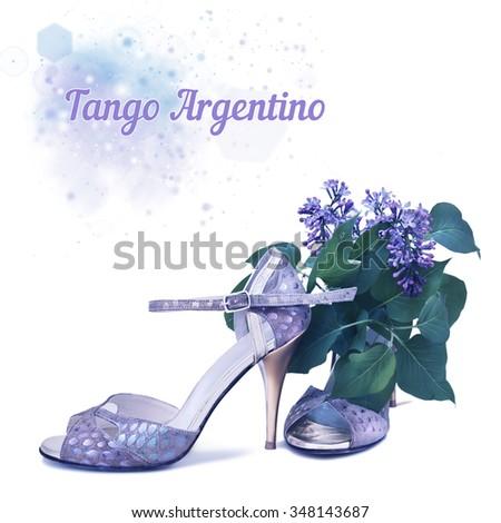 Tango stilettos and lilac flower on white background, text space - stock photo