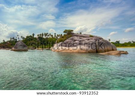 Tanjun Kelayang Beach, IBelitung Island, Indonesia - stock photo