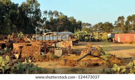 Tank cemetery in Asmara, capital of Eritrea - stock photo