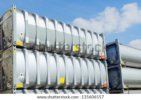 tank container for transport - stock photo