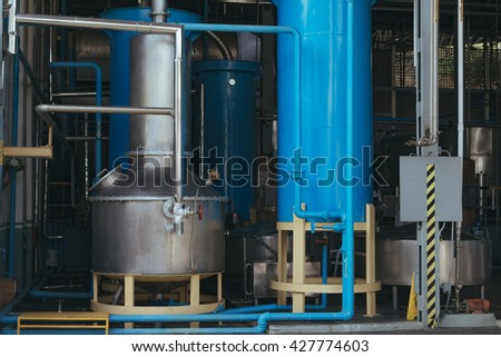 Tank equipment. Manufacturer on plant. Interior of an industrial boiler, the piping, pumps. factory. pipe. tank. boilers. - stock photo
