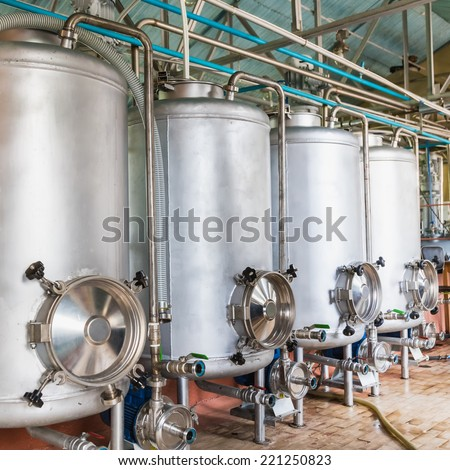 Tank equipment. Pharmaceutical and chemical industry. Manufacture on plant - stock photo
