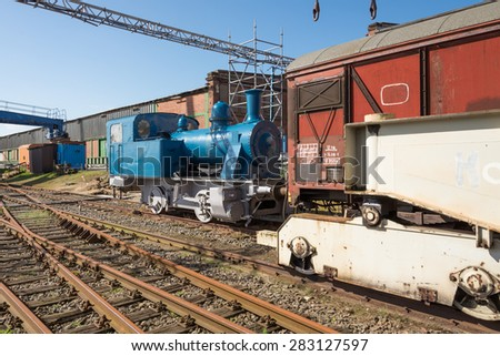 Tank locomotive at the Port Museum at shed 50a in the harbor of Hamburg. In former, the Loco was in service for the Hamburg port railway. The Museum has an exiting exhibition of old harbor equipment - stock photo