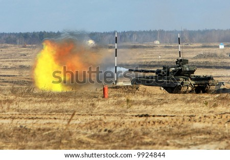 tank  shoot during the military training exercise - stock photo