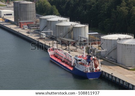 tanker at a pier - stock photo