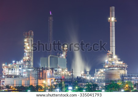 Tanker Oil refinery at Night - stock photo