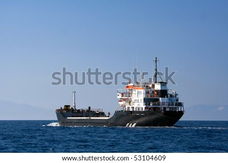 Tanker sailing in the sea - stock photo