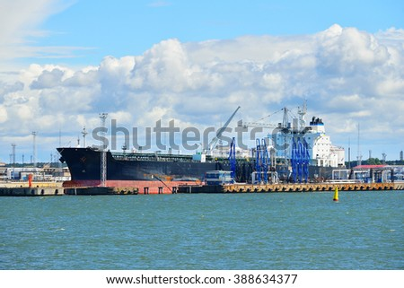Tanker ship in cargo port fuel terminal. Ventspils terminal, Lat - stock photo