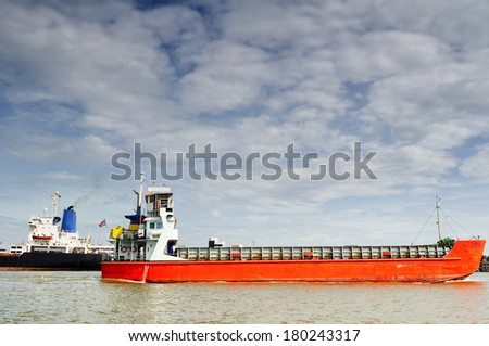 Tanker ship in river with blue sky/Tanker ship  - stock photo